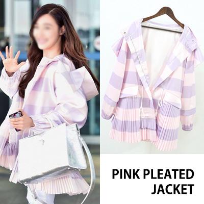 [K-POP アイドル少女時代のティファニースタイル]オーバーサイズピンクプリーツジャケット