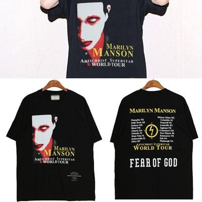 ストリートファッションスタイル!マンソンフェイス半袖Tシャツ