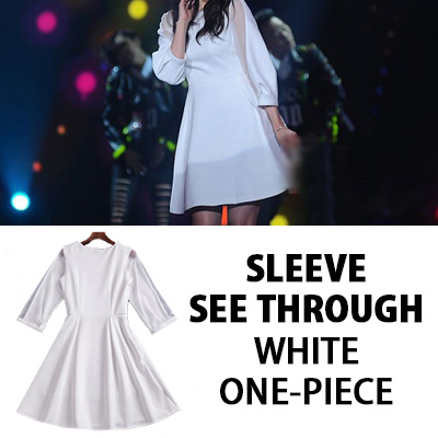 [K-POP 女優パク・シネスタイル]スリーブシースルーホワイトワンピース