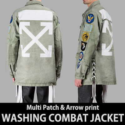 とてもユニークなデザイン!マルチパッチ&アロープリントワッシングコンバットジャケット