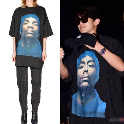 FRONT VER.EXO/chanyeol style/オシャレなストリート・ボードファッションルック!オーバーフィットサイズのプリント半袖Tシャツ