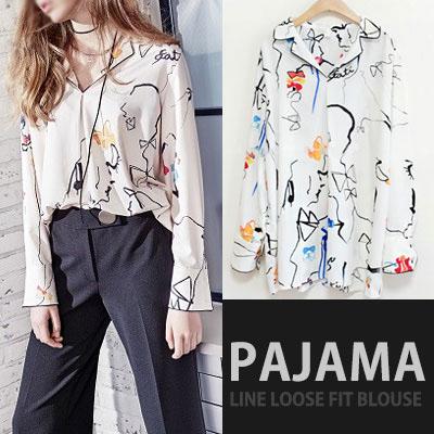 韓国ドラマドクターズパク・シネスタイル!パジャマラインルーズフィットブラウス/韓国ドラマファッション/女性ブラウス