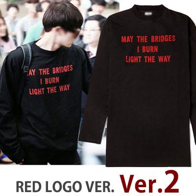 RED LOGO VER.2!UPGRADE RED LOGO VER.★EXO CHANスタイル!レッドロゴオーバーサイズロングTシャツ