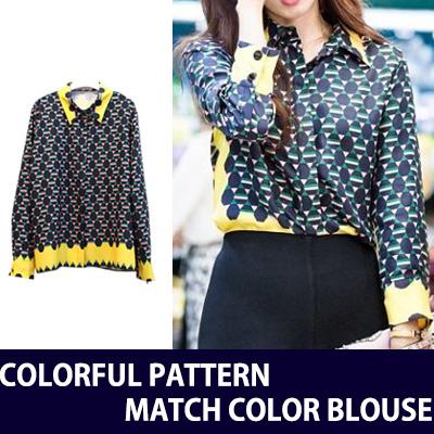 [韓国ドラマドクターズパク・シネスタイル]カラフルなパターンで配色カラーブラウス/韓国ドラマファッション/女性ブラウス