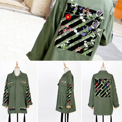 ホワイトラインシグネチャフラワー刺繍パッチカーキジャケット