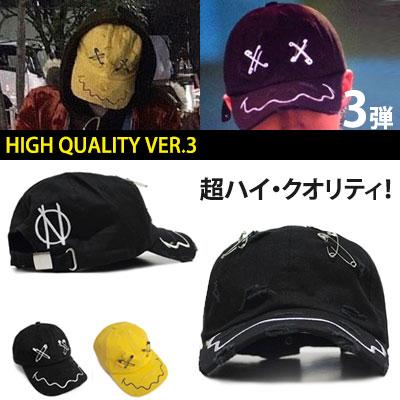 ★高クオリティ VER.★BIGBANG G-DRAGON2NE1 SANDARABlockB ZICOファッションスタイル!VINTAGE FACE SAFE PIN BALL CAP