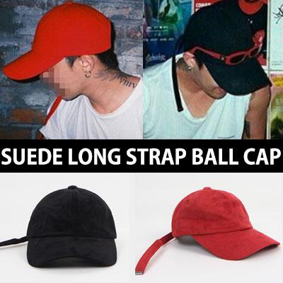 選べる2色★バックロゴスウェードロングストラップボールキャップ(RED,BLACK)