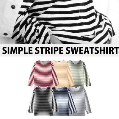 [BASIC SIMPLE LINE]シンプルストライプスウェットシャツ