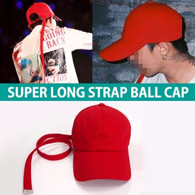 ★当日発送★BIGBANG GD STYLE★長さ75CMスーパーロングレッドコットンストラップボールキャップ/ G-DRAGON