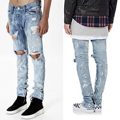 [riri zipper]ホワイトペインティングサイドジッパーダメージジーンズ