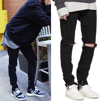 [riri zipper]定番のファッションアイテム!サイドジッパーワンクロップニーダメージブラックジーンズ