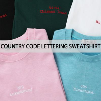 [BASIC SIMPLE LINE]カントリーコードレタリングスウェットシャツ
