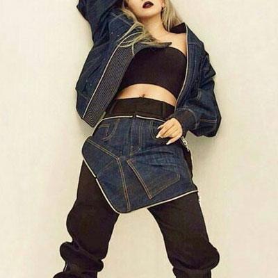 ハイクオリティ!EXOチャニョル、2NE1 CLファッションスタイル!オーバーフィットサイズデニムブルゾンジャケット