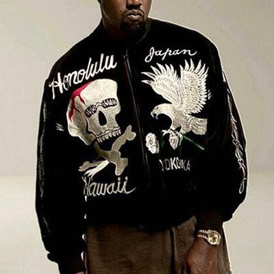 カニエ・ウェストのスタイル!ハイクオリティ!カラフルなスカル&イーグル刺繍ボンバージャケット