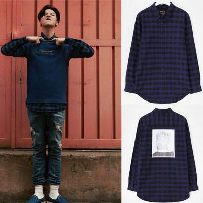 [8 X GD's PICK (正規品)]ブルーオーバーサイズチェックシャツ