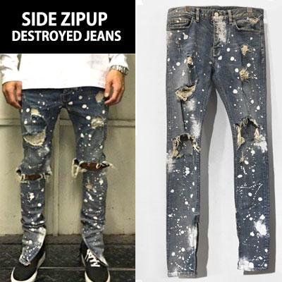 [riri zipper]ririジッパー使用サイドジップアップディストリロイドペイントジーンズ