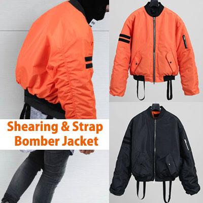 強烈なオレンジカラーとブラックのコラボ!オレンジ&ブラックカラーストラップボンバージャケット/ MA-1/フライトジャケット
