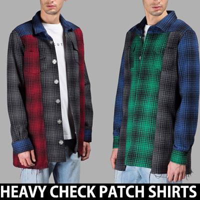 ヘビーハーフレタリングチェックパッチシャツ