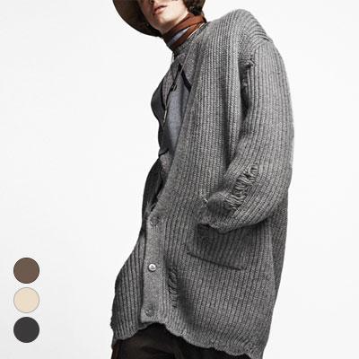 ハイクオリティ] K-POPアーティストパク・ヒョシンのスタイル!ダメージニットロングカーディガン