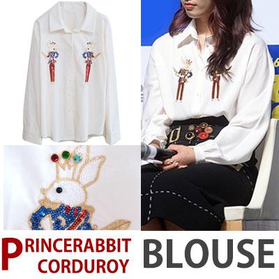 韓国女優パク・シネスタイル/ラビットプリンスコーデュロイブラウスシャツ(WHITE/BEIGE)