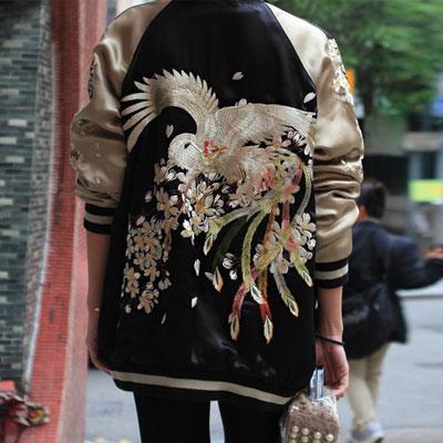 ユニセックスタイプ!リバーシブルフェニックス刺繍ジャケット
