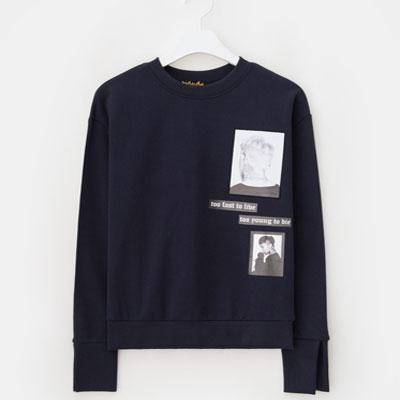 [8 X GD's PICK (正規品)]ネイビープリントスウェットシャツ 8SECONDS