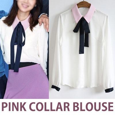 人気の韓国ドラマ嫉妬のファッション!ピンクカラーのリボンブラウス