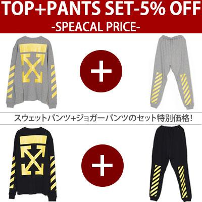 (SET-5%)イエローシグネチャースウェットシャツ+パンツセット/ブラック、グレー
