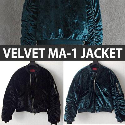 シャイニングベルベットMA-1ジャケット/ブラック、グリーン