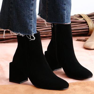 [RANG SHE] ユニークスクエアヒールブーツ/女性ブーツ