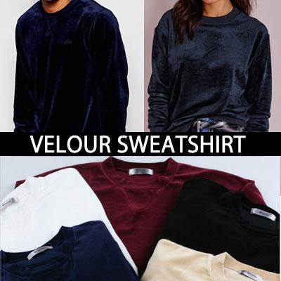 [BASIC SIMPLE LINE]ベロアスウェットシャツ/柔らかな肌触り!