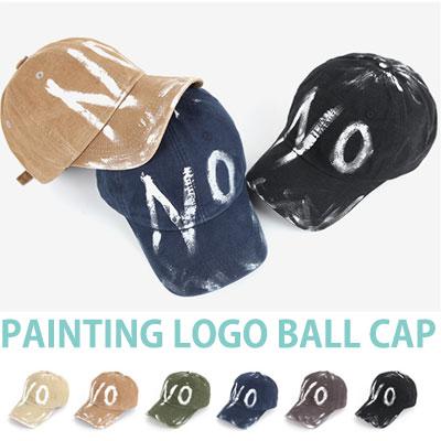 ハンドペイント「NO」のロゴボールキャップ