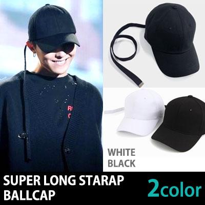 [BLACK/WHITE]長さ75センチのスーパーロングストラップボールキャップ/ G-DRAGON/ロングストラップ/