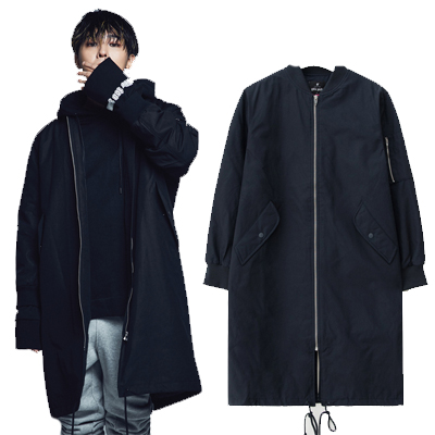 2016 FW [8 X GD's PICK]ネイビーロング MA-1 Bomber G-Dragon GD G-DRAGONコラボ 8SECONDS