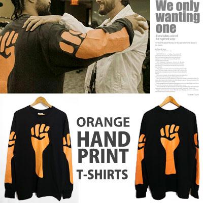 ジェリー・ ロレンゾst/オレンジハンドプリントTシャツ