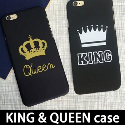キング&クイーンケースシンプルホワイト&ゴールドカラー/ iPHONE