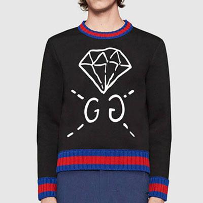 ブラックダイヤモンドのロゴプリントスウェットシャツ/ラグジュアリースタイル