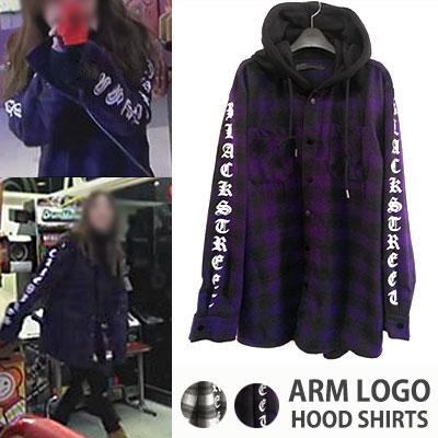 K-POP STAR STYLE!キソムスタイル!真冬まで着用可能な重ね着スタイル起毛フードチェックシャツ(IVORY,PURPLE)