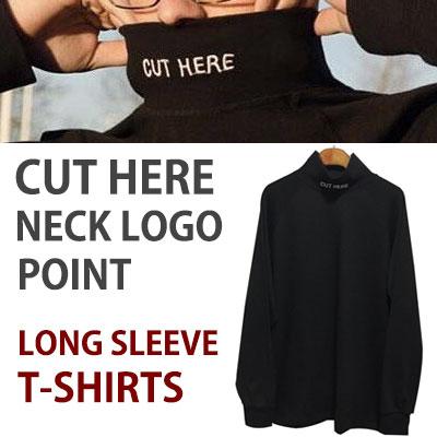シンプルで強烈的なメセジー!ネックロゴポイントハーフタートルネックブラッT-シャツ