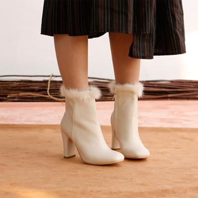 [RANG SHE]これはまさに最近のトレンド! ファーがついているおしゃれな皮ブーツ