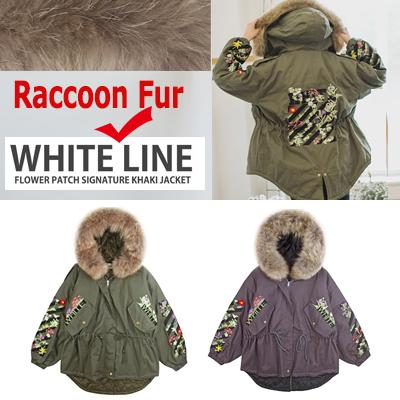 Raccoon Fur付きの暖かいホワイトラインシグネチャフラワー刺繍パッチカーキジャケット