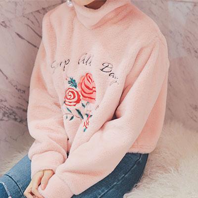 ローズ刺繍ファートップ/ロゼファースウェットシャツ(PINK,NAVY)