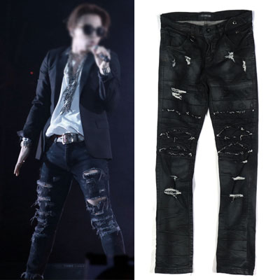 BIGBANG SOL[MADE TOUR]STYLE!ディストリロイドシリコンブラックデニムジーンズ