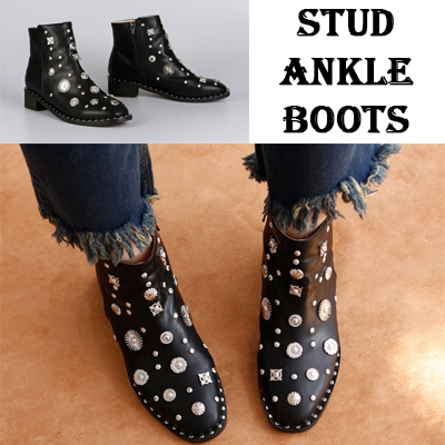 [RANG SHE]色々なスタッドが魅力的!スタッドポイントのアンクルブーツ/STUD ANKLE BOOTS