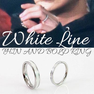 EXO STYLE!サージカルスチール素材/ホワイトラインシンアンドボールドリング