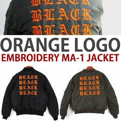 オレンジロゴ刺繍MA-1ジャケット