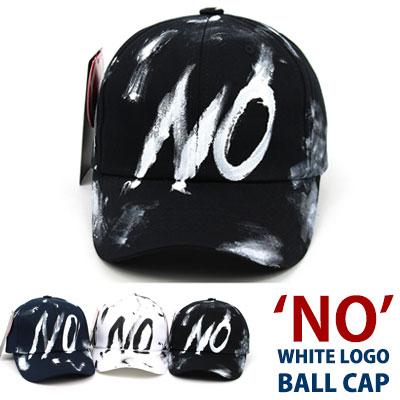 'NO'ホワイトカリグラフィーロゴボールキャップ