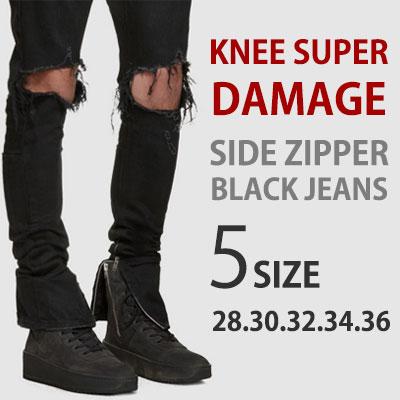 ★選べる5サイズ★[riri zipper]ジャスティンビーバーst.伸縮性抜群!サイドジッパースーパーダメージブラックジーンズ