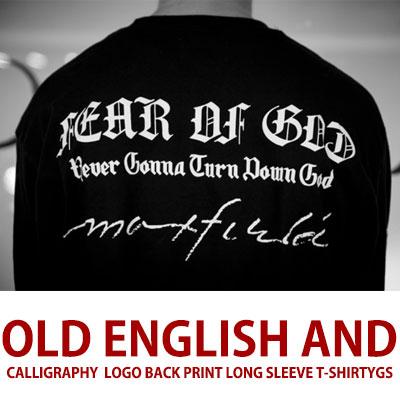 オールドイングリッシュ&カリグラフィーロゴロングスリーブTシャツ