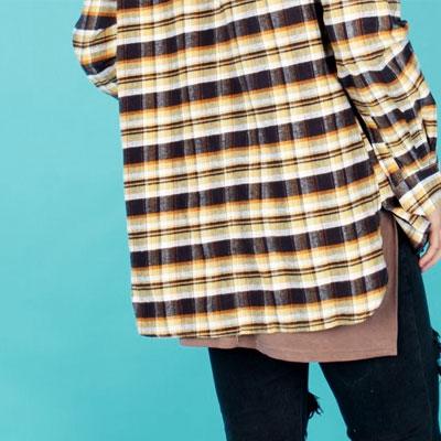イエロー&ブラウンチェックフランネルシャツ
